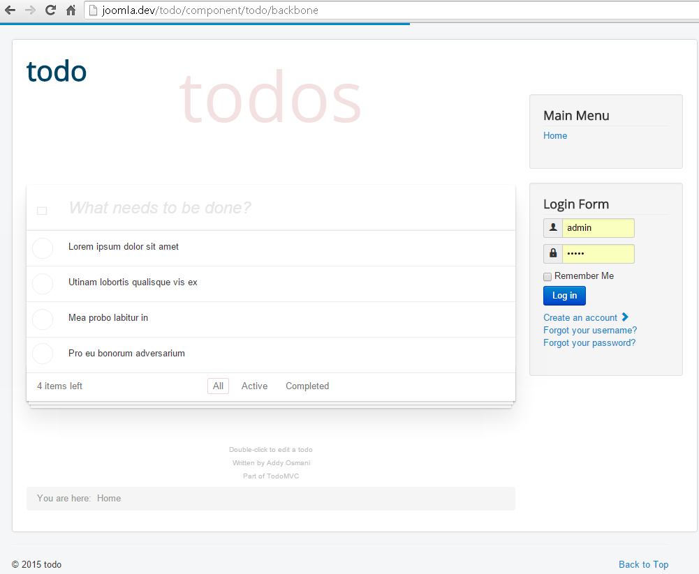 TodoMVC Getting Data from Joomlatools Framework Backend